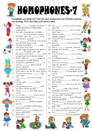 English Worksheet: Homophones-7 (Editable with Answer Key)