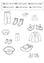 English worksheet: Big, little clothes