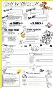 English Worksheet: there is- there are