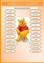 English Worksheets: Animals� Babies