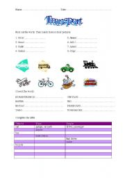 English worksheet: Transport