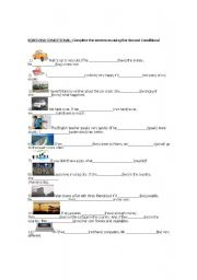 English worksheet: Second Conditional. Sentences with pictures.