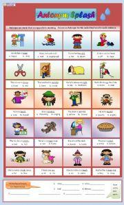 English Worksheet: Antonym Splash