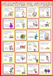 English Worksheet: Adjectives or Adverb