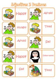 English Worksheet: Adjectives 2 - dominoes (28 pieces, 7 words) ***editable