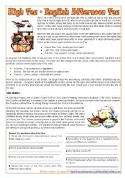 The English afternoon tea - text + reading comprehension Q, multiple choice and personal Q [2 pages] ***editable