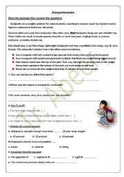 English Worksheets: back packs comprehention