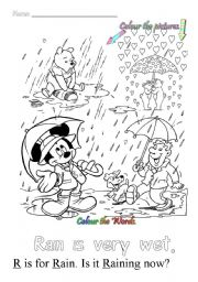 English Worksheet: R is for rain
