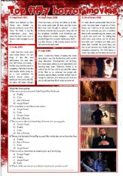 English Worksheet: Top Fifty Horror Movies (Part 8/10) Compreension + Personal Q (Multiple Choice + Writing) [2 pages] ***editable