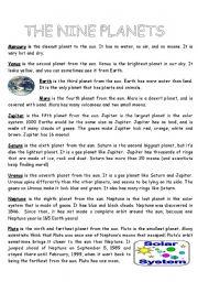 English Worksheet: Planets info sheet