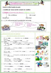 conditionnal sentence type1;rules with practice
