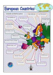 English Worksheet: European Countries