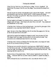 -ed pronunciation The boy who cried wolf