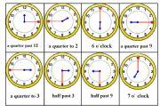 English Worksheet: Telling Time bingo game . Card nr. 2 /6
