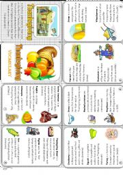 Thanksgiving vocabulary - minibook