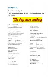 English Worksheets: THE BOY DOES NOTHING