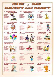 English Worksheet: HAVE HAS HAVEN�T HASN�T***editable***