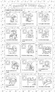 English Worksheets: Sandy�s busy day
