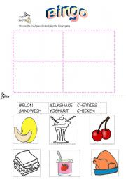 English Worksheet: A Bingo with my favourite food