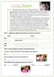 English Worksheets: Lady Diana :reading about diana with comprehension questions ,language and writing about civility