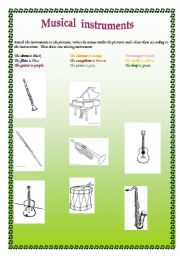 English Worksheets: Instruments