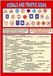 English Worksheet: Modals and Traffic Signs