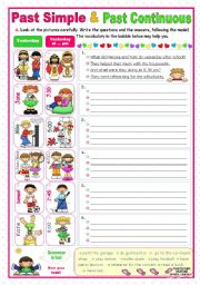 English Worksheet: Simple Past or Past Continuous?  -  A communicative approach