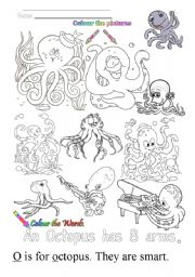 English Worksheets: O is for octopus