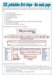 English Worksheets: ESL printables - First Steps - The Main Page (tutorial)