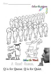 English Worksheets: Q is for queue