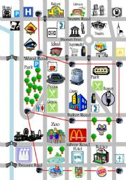 Map for teaching Directions - ESL worksheet by EvaLore Directions With Map on