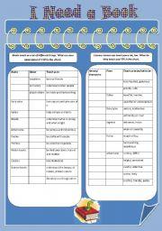 English worksheet: I Need a Book