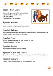 English Worksheets: SpainFactFile