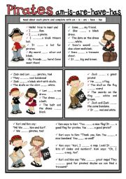 English Worksheet: PIRATES + am is are have has