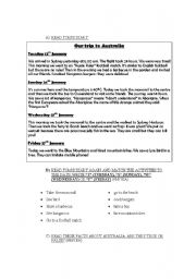 English Worksheets: reading comprehension abouy Australias / activites