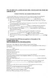 English Worksheets: Making generalizations and statistics
