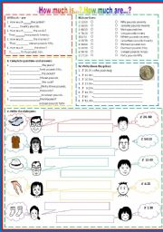 English Worksheets: How much is..? How much are...?