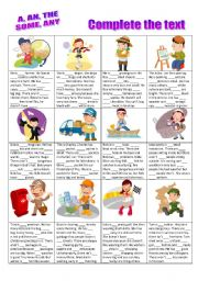 English Worksheet: Complete the text with - A, AN, THE, SOME, ANY