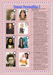 English worksheet: Famous personalities part 3 (07.11.2010)