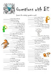 English Worksheets: Questions with BE - part 2