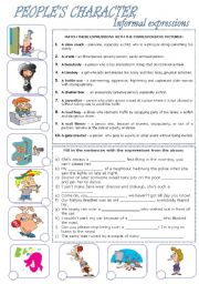 English Worksheets: People�s Character - informal expressions