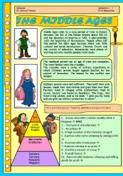 English Worksheet: THE MIDDLE AGES FOR CHILDREN. 4 PAGES WITH ACTIVITIES