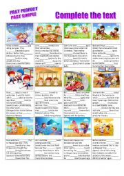 English Worksheet: Past perfect vs. Past simple - stories to complete