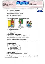 English Worksheet: mid-term test n1 (9th grade)