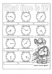 English Worksheet: WHAT TIME IS IT? Exercises and Craft Clock (2 pags)