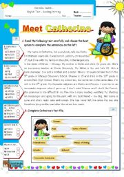 English Worksheet: Meet Catherine  -  Reading + Writing Test