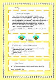 English Worksheet:  reading:Fire on  mountain