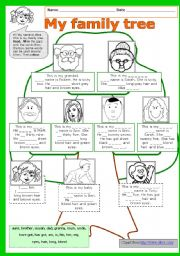 My family tree (A ws to practice names of family members, possessives, be and have got) + KEY ** fully editable