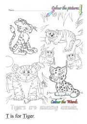English Worksheets: T is for tiger