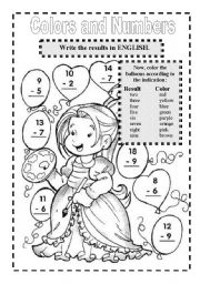 English Worksheets: COLORS AND NUMBERS
